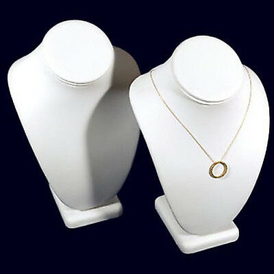 """2 White Leather Necklace Jewelry Display Busts 10"""""""