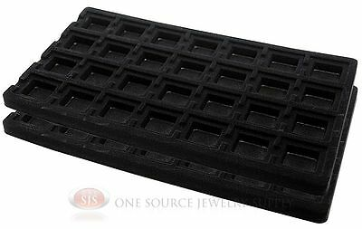 2 Black Insert Tray Liners W/  28 Compartments Drawer Organizer Jewelry Displays