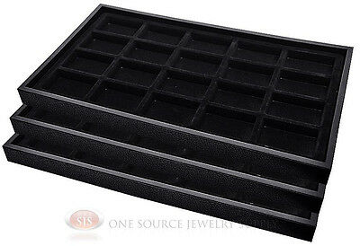 (3) Black Plastic Stackable Trays w/20 Compartments Black Jewelry Display Insert