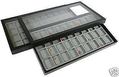 2-36 Compartment Acrylic Lid Jewelry Display Case Gray