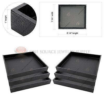6 Black Wooden Display Sample Trays Organizers Storage Covered Faux Leather