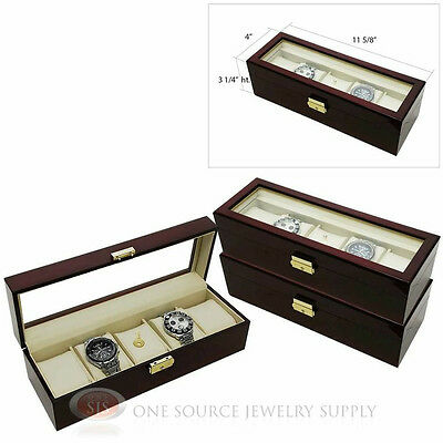 (3) 5 Watch Glass Top Rosewood Watch Cases with Beige Faux Leather Displays