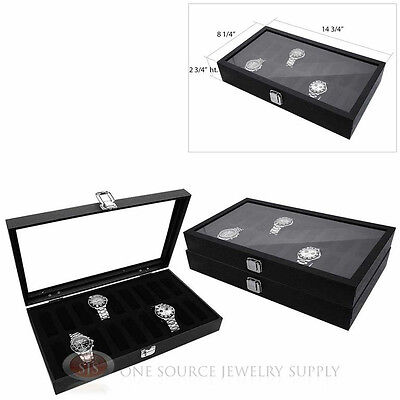 (3) 18 Watch Glass Top Storage Display Collectors Cases Wooden Jewelry Case