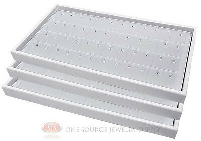 (3) White Plastic Stackable Trays w/24 Pair Earring White Jewelry Display Insert