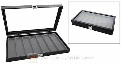 Glass Top Jewelry Organizer Display Case 7 Slot Compartment Gray Insert Travel