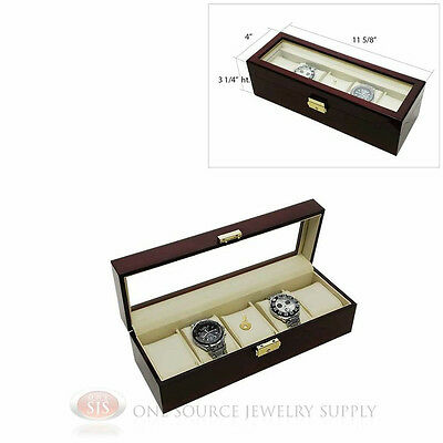 5 Watch Glass Top Rosewood Watch Case with Beige Faux Leather Display Jewelry
