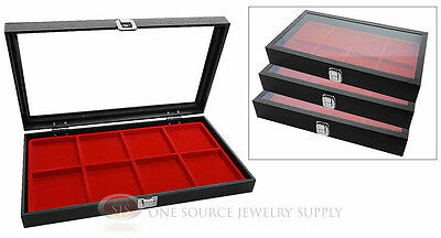 (3) Glass Top Wooden Cases w/ Red 8 Compartment Organizer Storage Inserts