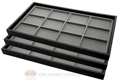 (3) Black Plastic Stackable Trays w/12 Compartment Gray Jewelry Display Inserts