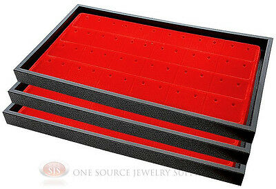 (3) Black Plastic Stackable Trays w/24 Pair Earring Red Jewelry Display Insert