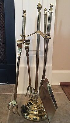Antique Solid Brass Small Fireplace Tool Set with Brass Base