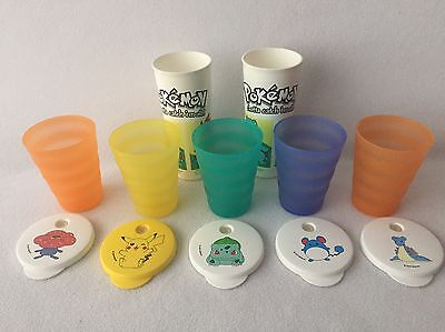 Tuppeware Impressions Cups Tumblers Pokemon Lids + 2 Decorated Tumblers