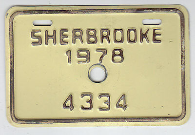 1978 Quebec Canada Sherbrooke Bicycle License Plate 4334