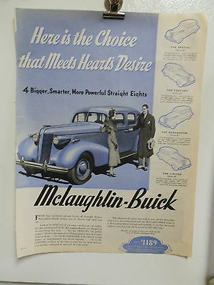VINTAGE 1937 McLAUGHLIN BUICK ADVERTISING PRINT AD. CARS AUTO'S.