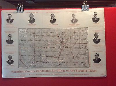 Ca.1920 Marathon County Wisconsin Map with Socialist Party Candidates for Office