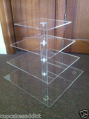 4 Tier Clear Acrylic Maypole Square Cupcake Cup Cake Stand Tower Wedding Party