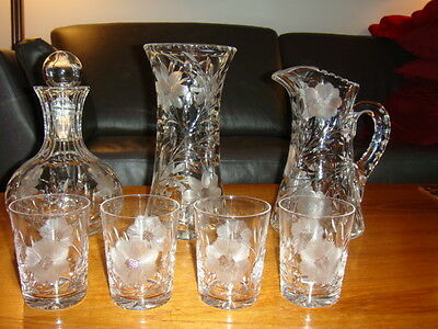 Heavy Crystal Cornflower Pitcher, Vase, Decanter and 4 Glasses