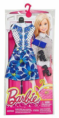 New! 2016 Barbie Complete Look Fashion Pack Blue Floral Dress & Accessories