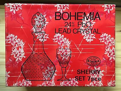 Bohemia Lead Crystal 24% / Boxed Sherry set 6 Glasses and Decanter VGC