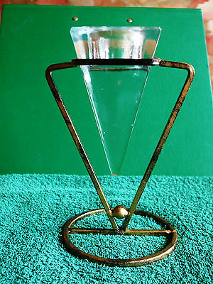ART GLASS METAL CANDLESTICK  HOLDER Handmade