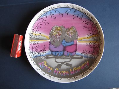 Vintage ANNI WOLDVIK LOVE FROM NORWAY PLATE NORGE Mid Troll danish modern