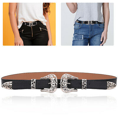Vintage Style Women's Ladies Silver Double Buckle PU leather Waist Belt One Size