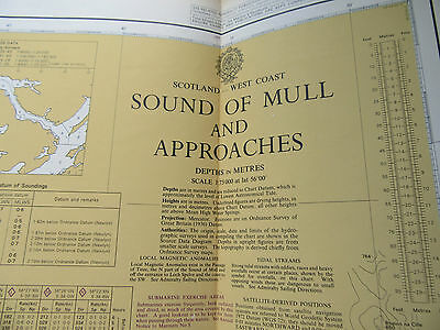 "1988 SOUND of MULL Scotland West Coast Navigational SEA MAP Chart 28"" x 41"""