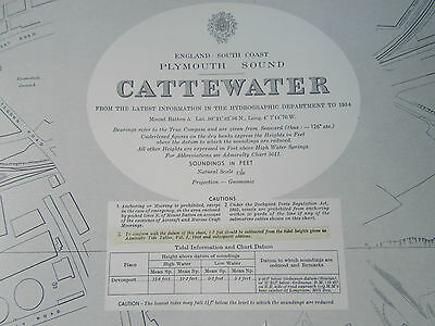 "1955 - CATTEWATER ~ PLYMOUTH SOUND Devon - Nautical SEA MAP Chart 28"" x 41"""