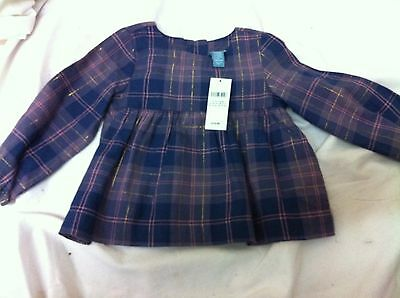 Stunning New  Baby Gap Long Sleeve Checked Girls Top Size 12-18 Months Rrp £15