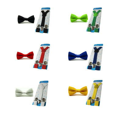 Boys Child Kids Solid Color Satin Bowtie Bow Tie Y-Back Elastic Suspender Set