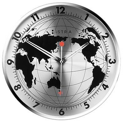 Stainless steel world map wall clock black or silver 30cm stainless steel world map wall clock black or silver 30cm travellers gift gumiabroncs Gallery