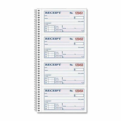 ORIGINAL Adams Money and Rent Receipt Book, 2-Part Carbonless Spiral Bound