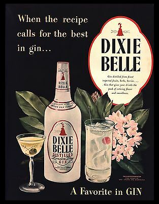 "Original 1947 ""dixie Belle Gin"" Rhododendron West Virginia Flower Art Print Ad"