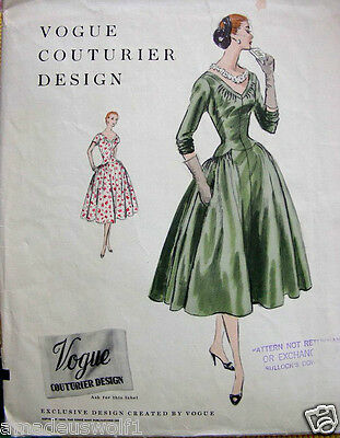 Vintage 50's VOGUE COUTURIER DAY/EVENING/WEDDING DRESS Sewing Pattern - B34