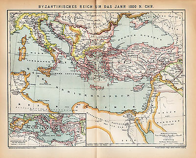 ca 1890 ANCIENT BYZANTINE EMPIRE EAST ROMAN EMPIRE Antique Map