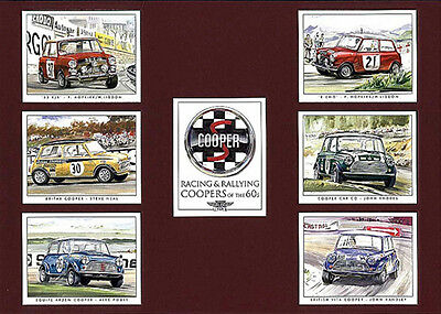 MINI COOPER OF 1960's RACING & RALLYING COLLECTORS PRINT CARDS--SET OF 7