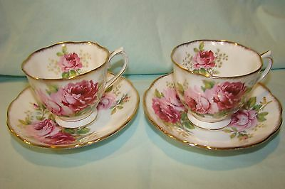 Set of Two Royal Albert American Beauty Rose Tea Cups and Saucers...Mint!