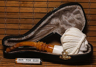 MEERSCHAUM SMOKING PIPE WITH FITTED CASE-INDIAN CHIEF-(k0102)