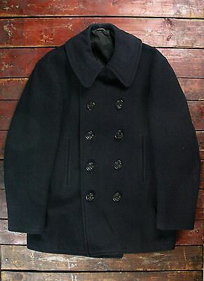 VTG 40s WWII USN KERSEY WOOL PEA COAT CORD POCKETS NAVAL CLOTHING FACTORY 40/42
