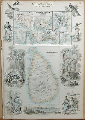 1874 Antique Fullarton Illustrated Map-British Possessions In The Indian Seas
