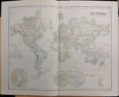 1874 Antique Large Fullarton Map-The World On Mercator's Projection
