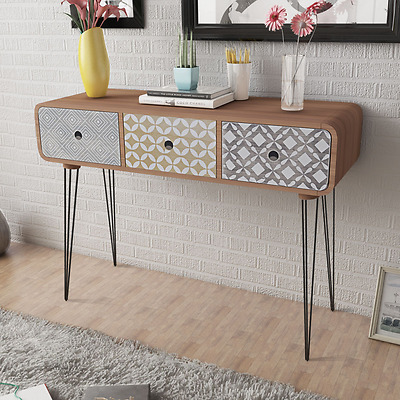 Brown Console Table Side Cabinet Sideboard Wood Drawers End Retro Look Furniture