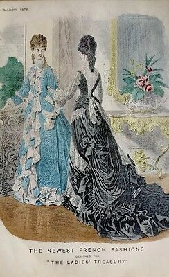 The Ladies Treasury 'Newest French Fashions'. 1876 Antiquarian Engraving Framed.