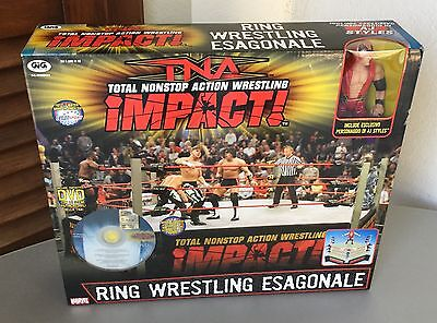 Vintage 2009# Very Rare Tna Impact Wrestling Ring Playset+ Aj Styles Exclusive
