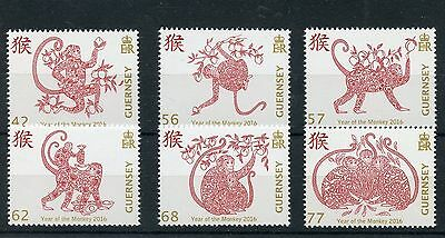 guernsey fr 2016 nouvel an CHINOIS chinese new year CHINA MONKEY singe  6v mnh