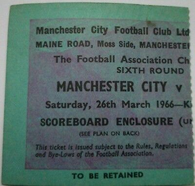 Manchester City v Everton FA CUP 6th Round March 26th 1966 - ticket stub