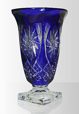 brand new large  crystal vase  24% LEAD  BOHEMIAN HAND MADE