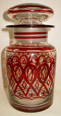 Antique Ruby Stained Glass Apothecary Jar, Art Nouveau Bottle & Lid