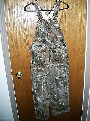 Youth Kids CARHARTT Ap HD Camo Insulated Bib Overalls Hunting Work Sz 8 Awesome