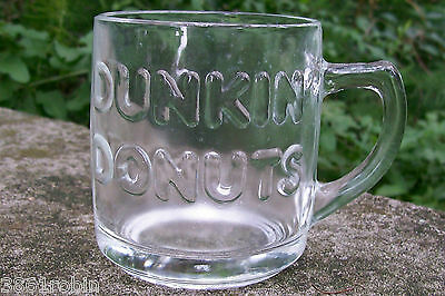 """Dunkin' Donuts Advertising Clear Glass Embossed Mug 3 3/8""""H A. Hocking 1980s-90s"""
