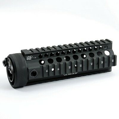 Free Float 7 inch Black Handguard Quad Rail System for Airsoft